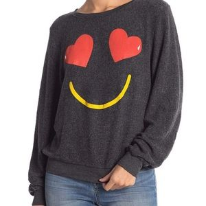 Wildfox Essential Smiling Hearts Pullover